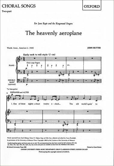 The heavenly aeroplane, Paperback; Rutter, John, Upper Voices - 9780193415140