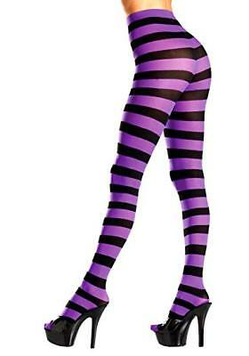 Black And Purple Striped Pantyhose Tights - Be Wicked BW679BPR 90-160 lbs  Black Striped Tights Pantyhose