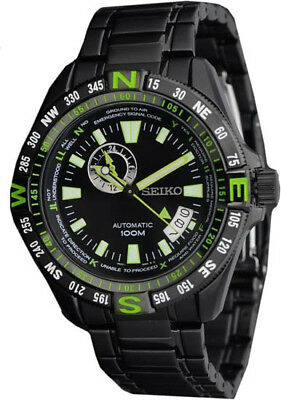 Seiko  Automatic Black And Green Dial Black Pvd Stainless Steel Mens Watch Ssa09