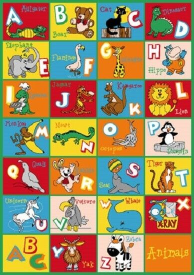 KIDS CHILDREN ALPHABET ANIMAL 5 X 7 EDUCATIONAL GEL RUG