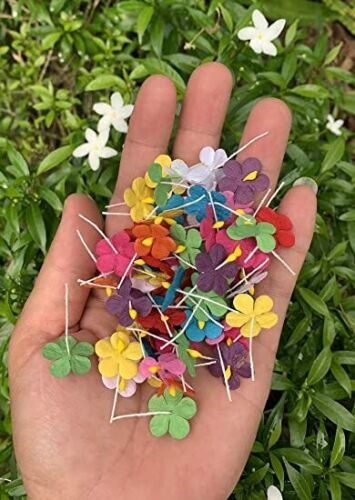 Handmade 100 Pcs Mixed Color Mulberry Paper Flower Blossom DIY Crafts 19x19mm