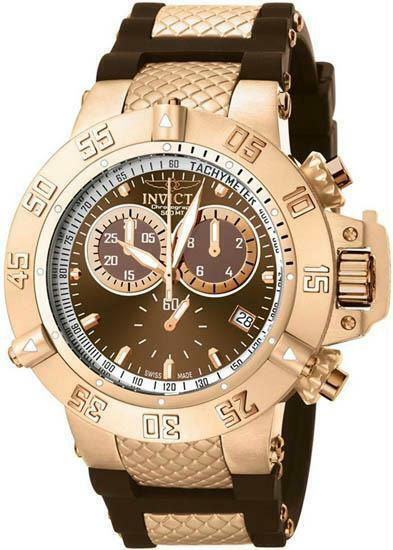 Men's Gold Tone Stainless Steel Subaqua 500M Diver Brown Dial Chronogra