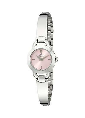 - Bulova Women's Pink Dial Diamond Accented Dress Watch 96P138