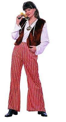 Female Hippie Costume (60's Groovy Female Hippie Adult Costume Fur Vest Striped Bell Bottom)