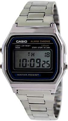 Casio Men's Quartz Digital Chorno Silver-Tone Bracelet Watch A158W-1
