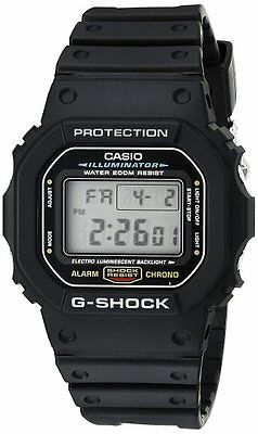 CASIO DW5600E-1V Mens Classic GSHOCK Black Resin Digital Chronograph Sport Watch