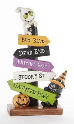 Whimsy Playful Halloween Pumpkin & Ghost Resin Festive Loonie Post Sign - Post Halloween Pumpkin