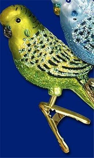 YELLOW CLIP-ON MINIATURE PARAKEET OLD WORLD CHRISTMAS GLASS BIRD ORNAMENT 18049