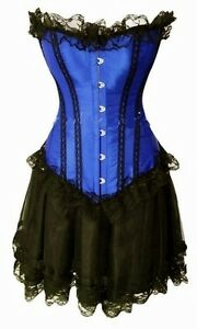 Burlesque-Moulin-Rouge-Can-Can-Girl-Fancy-Dress-Outfit-Corset-Skirt-8-10-12-14