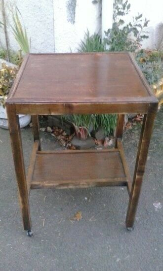 Vintage Bedside Table Dark Wood 2 Tier Trolley Coffee