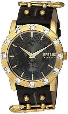 Versus by Versace Women's S73040016 'MIAMI CRYSTAL' Quartz Black Leather Watch