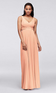 David's Bridal Long Mesh with Cowl back dress, Bellini