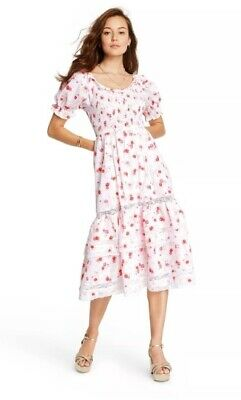LoveShackFancy for Target - Size LARGE Cosette Smocked Puff Sleeve Flower Dress