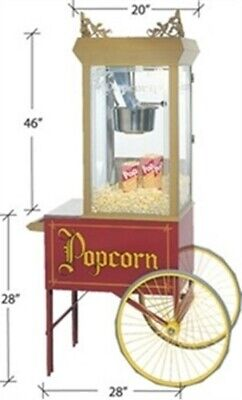 Gold Medal Gay 90s Pinto Pop Popcorn Machine 2131 With Cart
