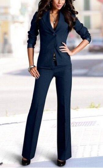 2Tlg. Vivien Caron Hosenanzug Set NEU Gr.38 L32 Damen Blau Blazer Hose Business