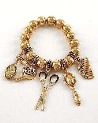 Hair Stylist Crystal Scissors Brush Comb Dryer Mirror Charm Bracelet Gold