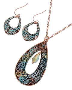 Burnished Copper Tone Pendant and Earring Set Leeton Leeton Area Preview