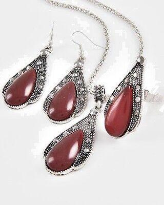 Dark Red Teardrop Marcasite-Look Fashion Jewelry Necklace/Earrings/Ring Set 237E (Marcasite Teardrop Ring)