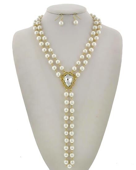 Y Deux Glass Stone Faux Cream Pearl Necklace Set Womens Fashion Jewelry