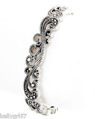 Faux Marcasite Filigree Swirl Elegant Designer-Inspired Stretch Bracelet #177-E ()