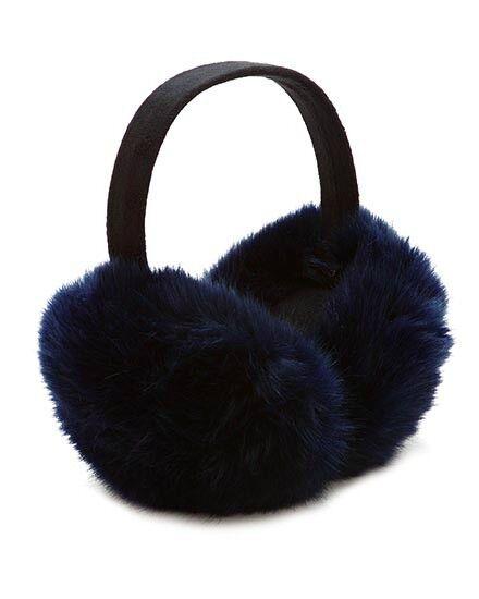 Le Luxe Collection Faux Fur Earwarmers, Earmuffs, Dark Blue