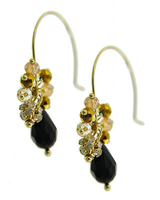 Black Glass Bead Cluster Dangle Drop Gold Tone Hook Wire New Fashion Earrings
