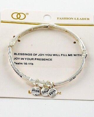 Religious Psalm 16:11 Blessings of Joy Faith Hope Love Bible Verse Bracelet #420