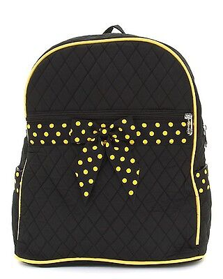 Large Quilted Solid Backpack School Bag Travel Black Gold Polka Dots