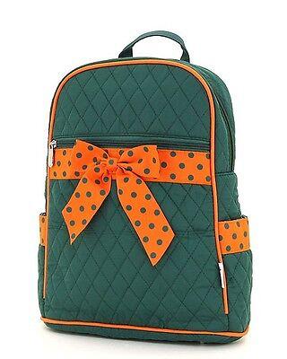 Large Quilted Girls Boys School Backpack School Gym Bag Green Orange