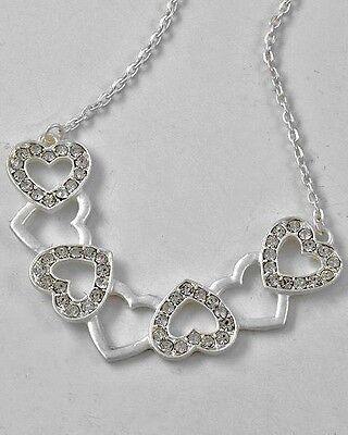 Hearts Love Rhinestone Valentine Girlfriend Bridesmaid Wedding Necklace #247-C