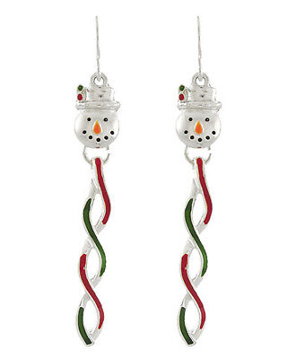 Snowman Face with Dangling Christmas Pendent / Silver-tone Fish Hook Earrings