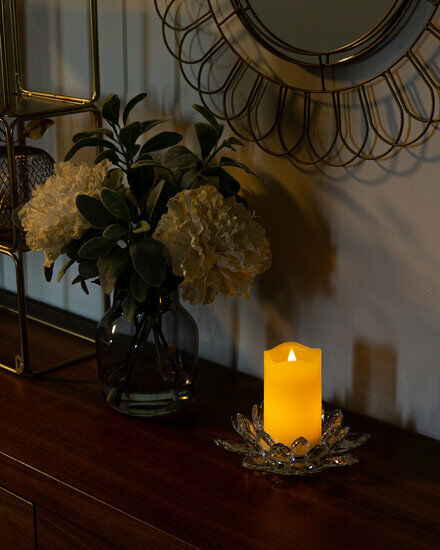 Kerzenhalter Glas Lotusblüte Kristallglas f. Stumpenkerzen Teelichthalter 20 cm