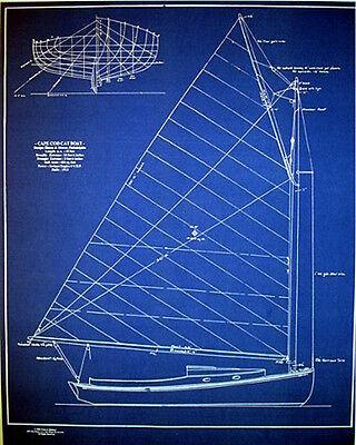 """Vintage Cape Cod Cat Boat 1913 Builders Blueprint Plan 19"""" x 24"""" (275)"""
