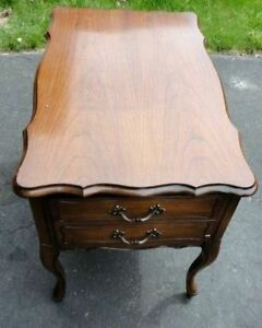 Vintage solid wooden queen anne legs side table with drawer London Ontario image 5