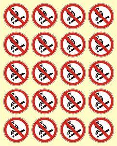 20 Aufkleber 5 cm Ø Rauchen verboten Rauchverbot Nichtraucher Sticker Hinweis
