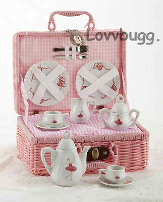 "Lovvbugg  Kids Childs Ballet Tea Set in PINK Basket for 18"" American Girl Doll Accessory"
