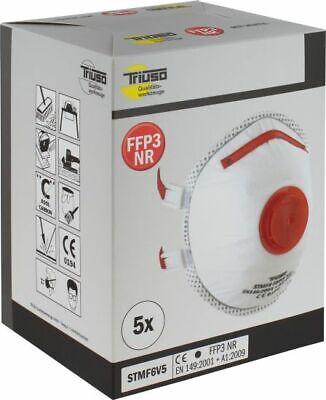 5 Stück FFP3 Maske Atemschutzmaske Feinstaub Mundschutz mit Ventil CE