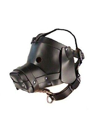 Dog Mask Leather (REAL BLACK LEATHER PUPPY MASK with COLLAR BONDAGE LARP DOG)