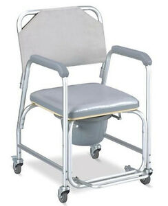 3 In 1 Commode Wheelchair Bedside Toilet Shower Chair Bathroom Rolling Chair