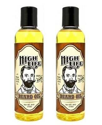 High Life Beard Oil Mustache & Beard Grooming Care 4 oz MADE IN USA - 2 BOTTLES