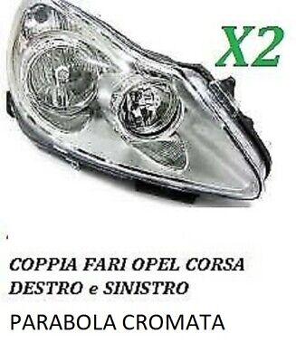 COPPIA FARI FANALE PROIETTORE ANT SX-DX OPEL CORSA D DA 2006 IN POI PARABOLA CRO