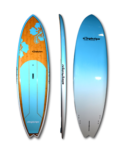 "Stand up paddle board 10'x32"" bamboo teal flowers Alleydesigns Currumbin Waters Gold Coast South Preview"