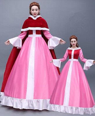 Beauty and the Beast Belle Disney Cosplay Kostüm Abend-kleid lang long Ball - Rosa Belle Kostüm
