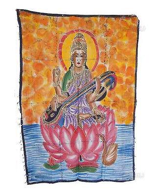 Batik Hanging of Saraswati India 115x 74cm Crafts India Peterandclo 8826