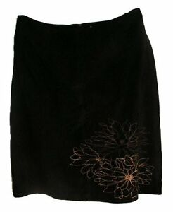 Black Genuine SUEDE Leather Skirt - Size 14 - NEW