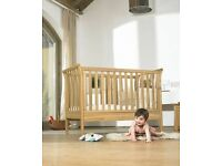Mamas and Papas solid oak cotbed in excellent condition with instructions