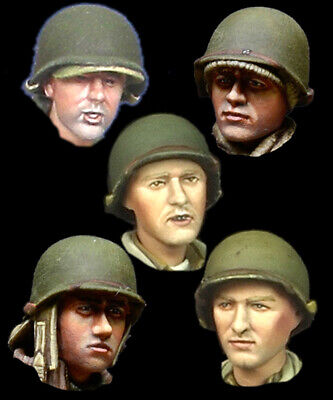 Alpine Mins 5 US Tanker heads WW2 H019 set 1/35th Unpainted kit (Tanker Heads)