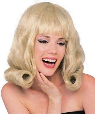 Damen Erwachsene 60s Jahre Blond Schulterlang Flip Kostüm (Flip Perücke Kostüm)