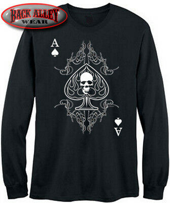 Ace Of Spades Long Sleeve T Shirt Tribal Skull Biker M 3Xl Chopper Anarchy