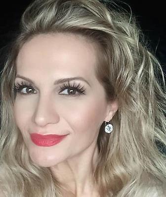 Bella Earrings Round Silver White Bezel CLEAR Swarovski Crystal Bridal Cz Drop